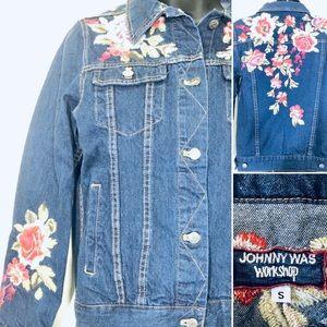 Johnny Was Workshop Embroidered Denim Jacket